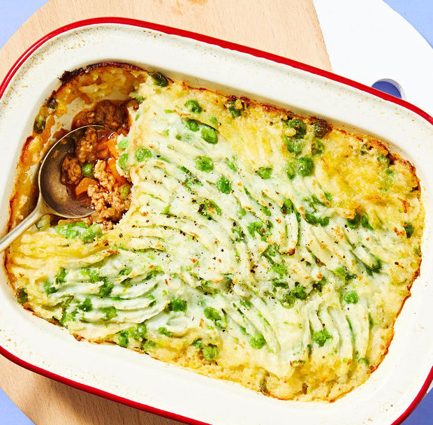 Lamb and Carrot Pie with Potato and Pea Mash
