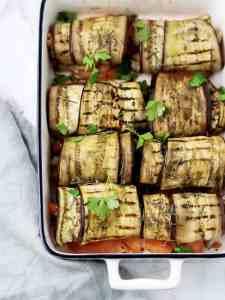 Canelones de beringela com perú