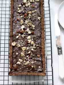 Tarte de chocolate e avelãs