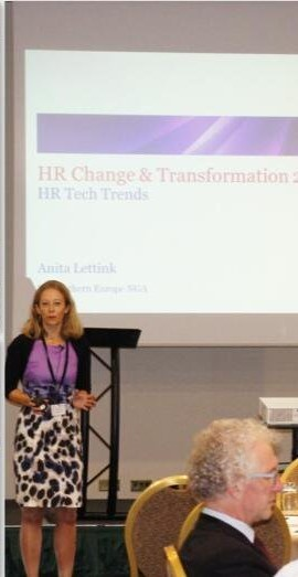 Anita presenting on HR Tech Trends at HR Change and Transformation in London