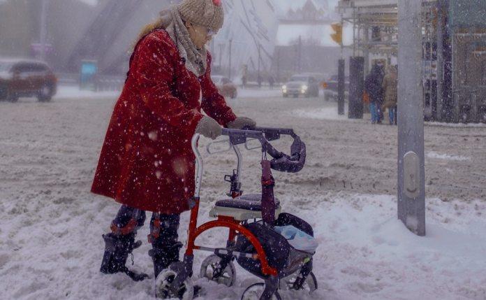 Elderly needing a walker