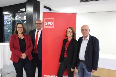 Die Dortmunder SPD stellte ihre Kandidaten für die Landtagswahl 2017 auf: v.l. Anja Butschkau, Volkan Baran, Nadja Lüders und Armin Jahl.