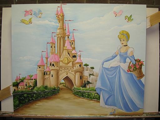 De prinsessen in de tuin voor het kasteel Belle leest het