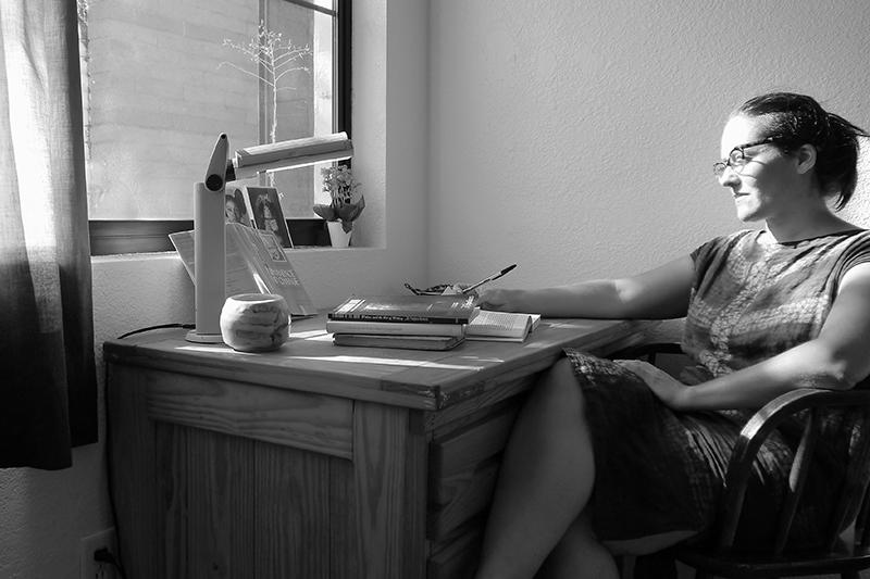 Anja Marais working at the colony