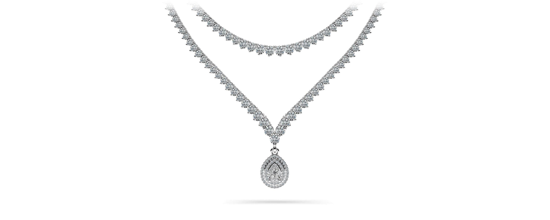 3 Prong Graduated V Diamond Necklace