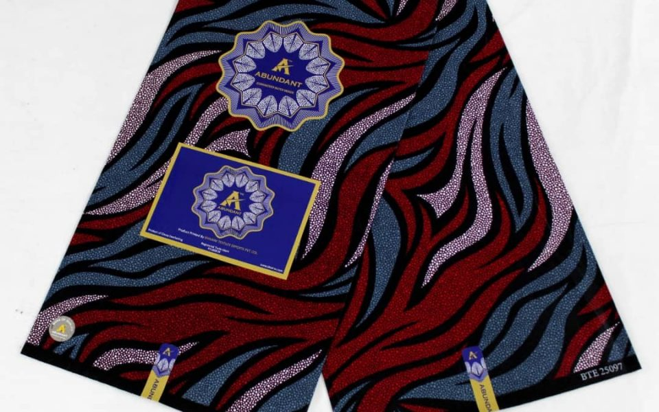 Abundant ankara fabric blue-red pattern colour
