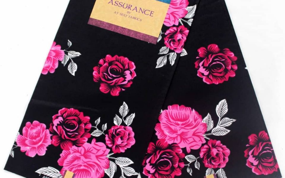 Assurance Ankara fabric black and pink-white flower pattern