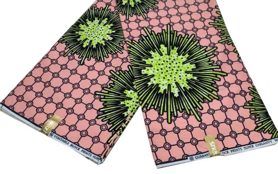 Chiganvy ankara fabric peach and minit pattern