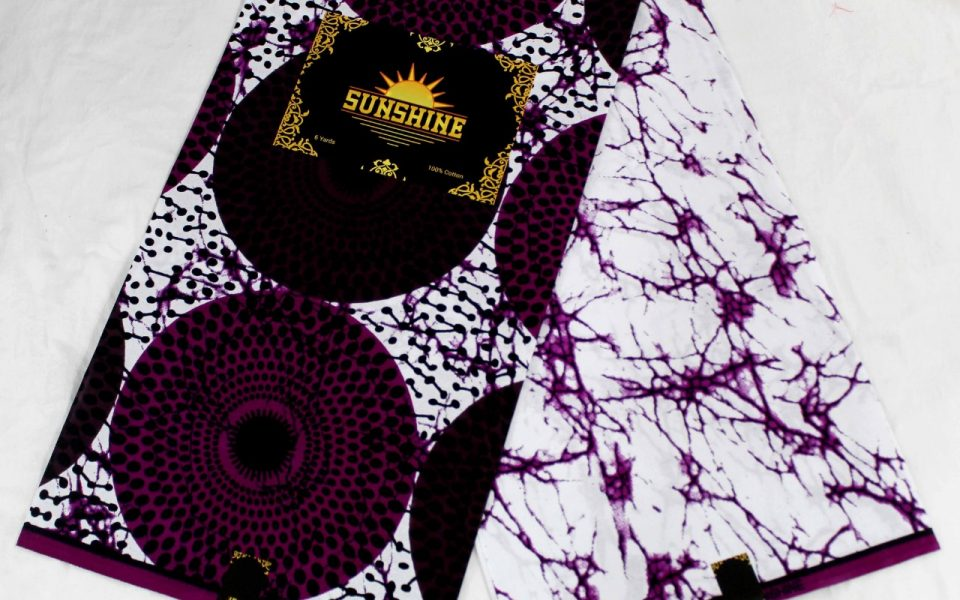 Sunshine Ankara White Purple Pattern