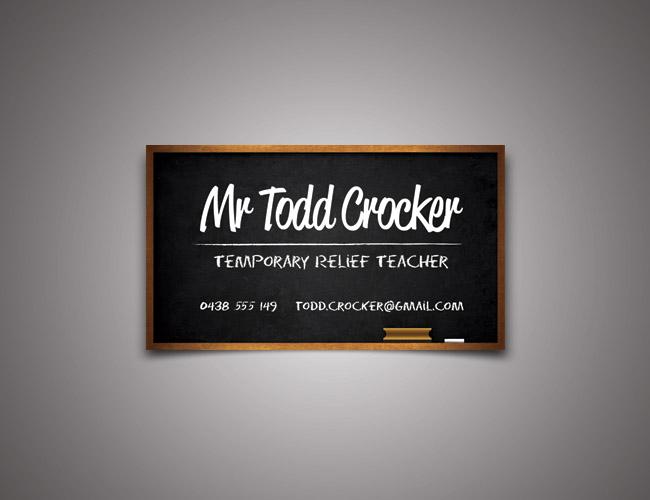 Temporary Relief Teacher Business Card  Ankhou Graphic Design