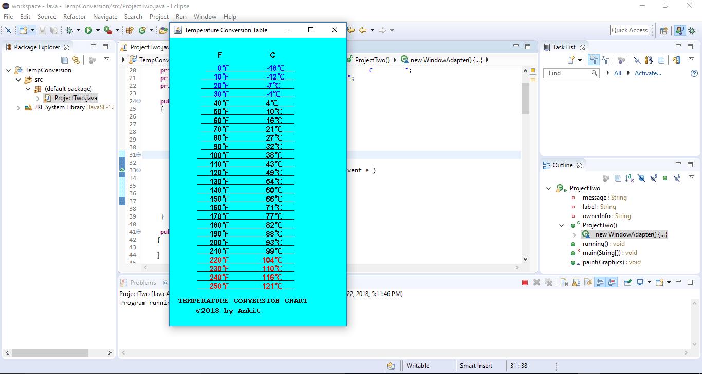 COP 2800 (Java Programming) Project #2 Temperature Conversion Chart -  ankitcodinghub