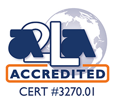 A2LA accredited symbol cert #3270.01