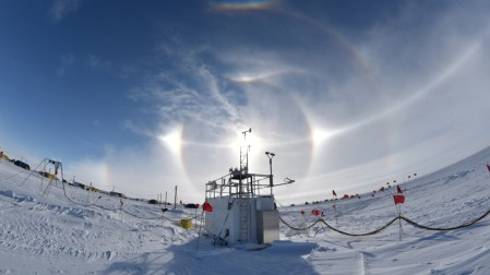 This shows the same ARM equipment at the West Antarctic Ice Sheet, but at a different angle. (Image by U.S. Department of Energy Atmospheric Radiation Measurement [ARM] Research Facility.)
