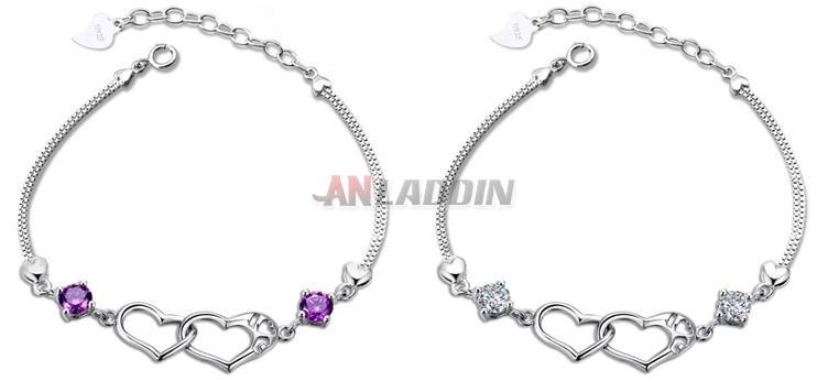 925 Sterling Silver Crystal Double Heart Bracelet