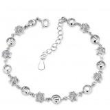 925 Sterling Silver Rhinestones Double Heart Bracelet