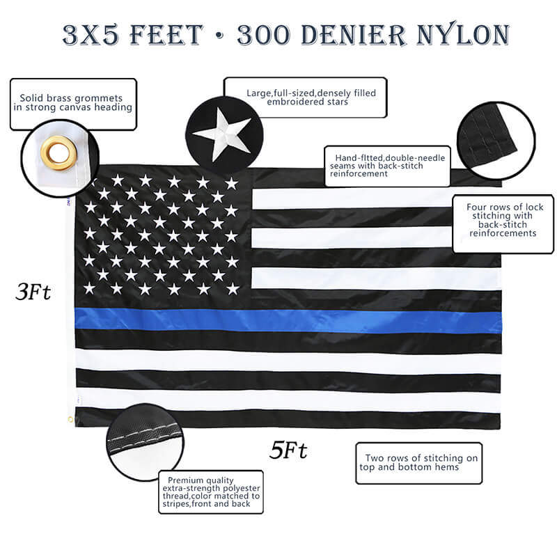 sewn Thin blue Line us flag