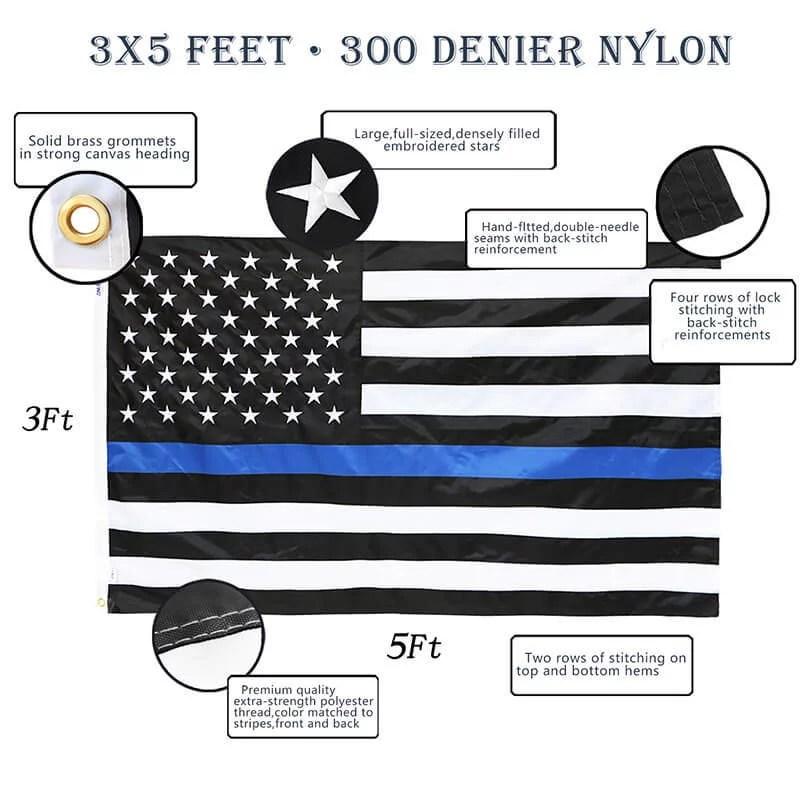 sewn Thin blue Line us flag