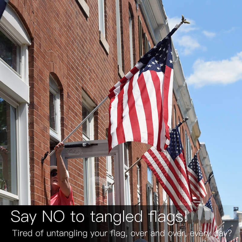 Tangle free spinning flagpole