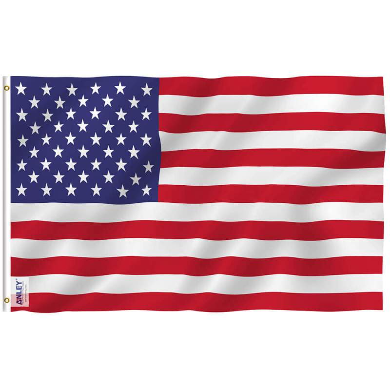 American flag fly breeze