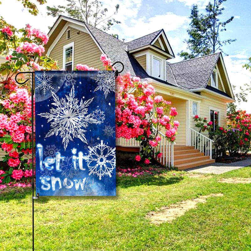 let it snow garden flag