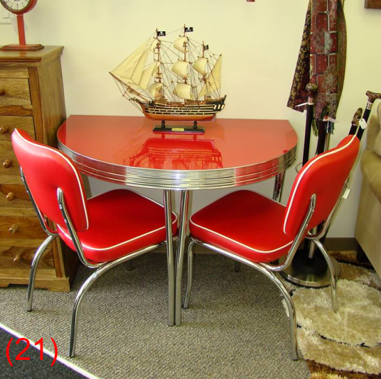 red retro kitchen table and chairs heavy duty lounge chair cool dinettes 1950 s style canadian made chrome sets accro rl05cm cola gloss half round 26 x 42 2 baron scarlet n57