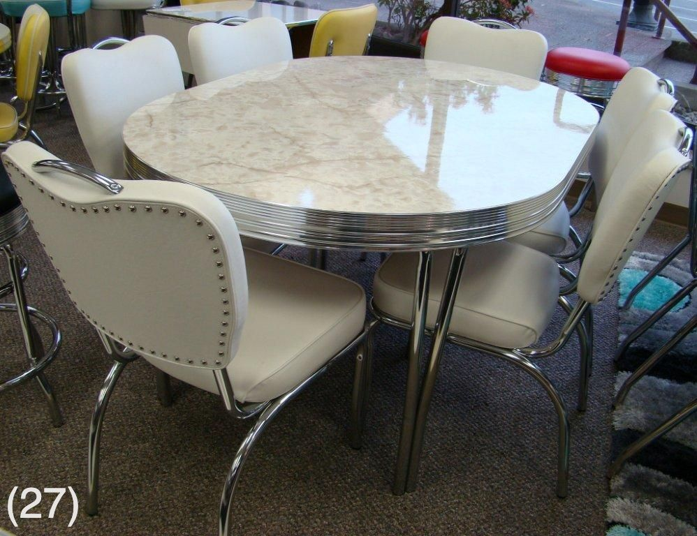 vintage table and chairs beach umbrella for chair cool retro dinettes 1950 s style canadian made chrome sets accro rl26cm in white onyx w leaf 6 n52 42 x 60