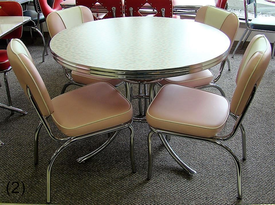 1950s kitchen table seat cushions cool retro dinettes 1950 s style canadian made chrome sets accro wb22an endora pink 42 round 4 n53 chairs