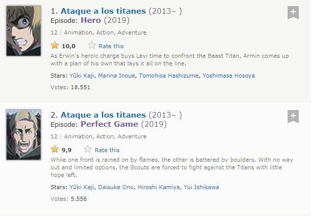 Shingeki no Kyojin tiene los dos mejores episodios de la historia de la televisión