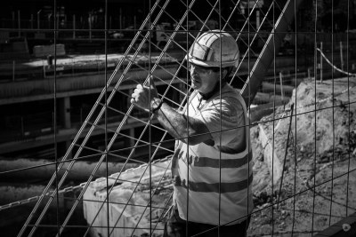 Construction worker bw