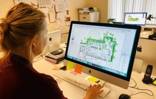 Drawing up a design in Vectorworks at Ann-Marie Powell Gardens