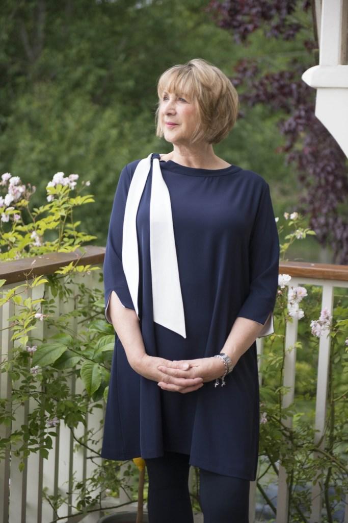 HOPE FASHION Navy/Chalk Tie side Neck dress £66 Modelled by Grace