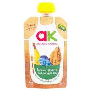Organic banana, blueberry & coconut milk puree