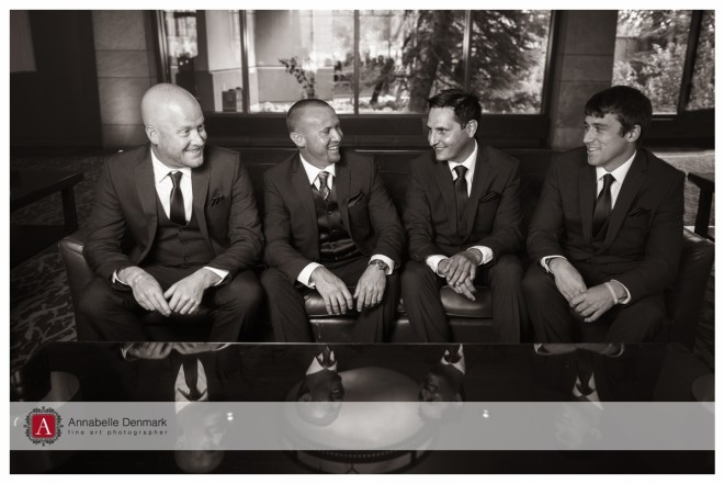 The groom and his groomsmen in the Lobby