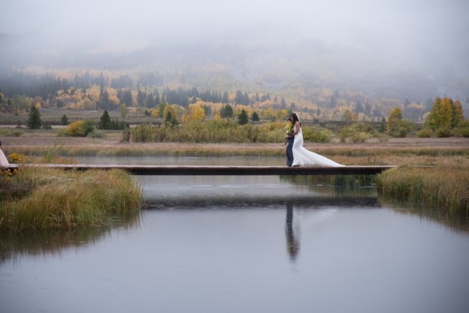 wedding ceremony on a lake