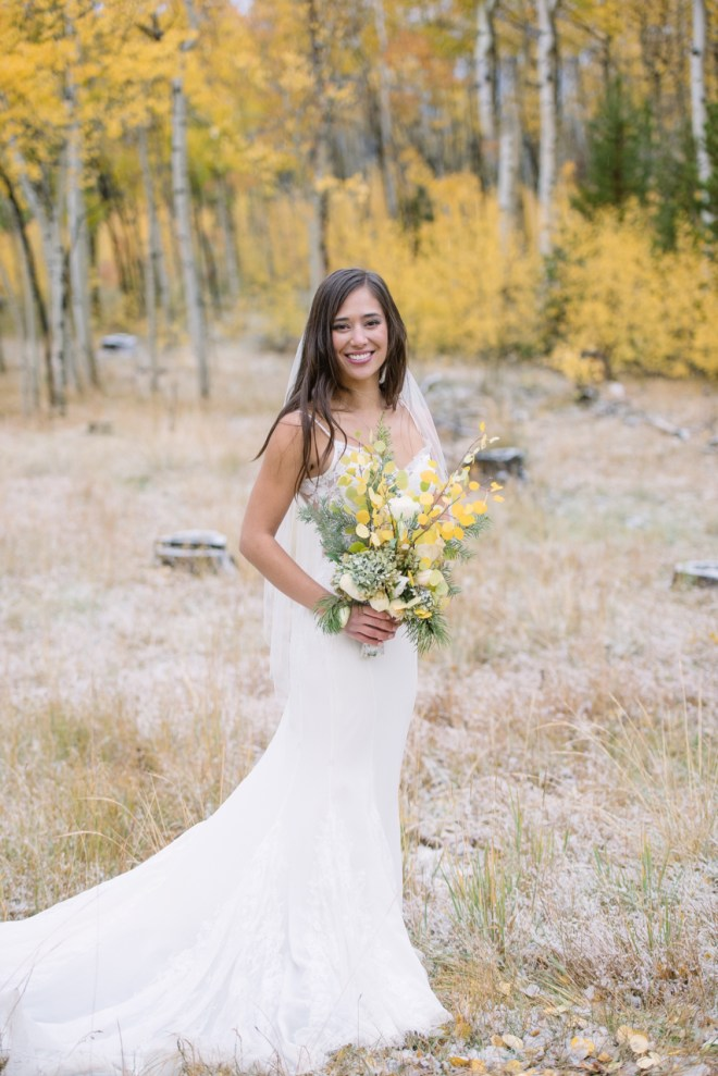 Bride in yellow Aspens