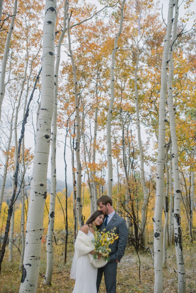 Groom and Bride in Aspens