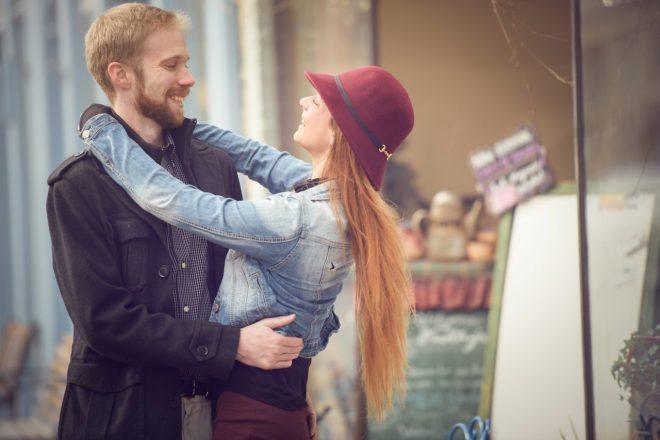 Couple hugging in Idaho Springs, CO