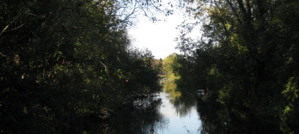 View of left side of River Eure from footbridge