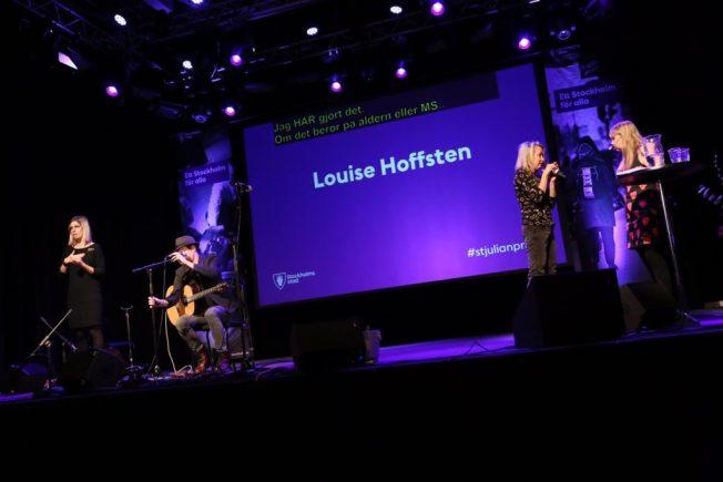 Bild, Anna intervjuar Louise Hoffsten på S:t Julian prisutdelningen