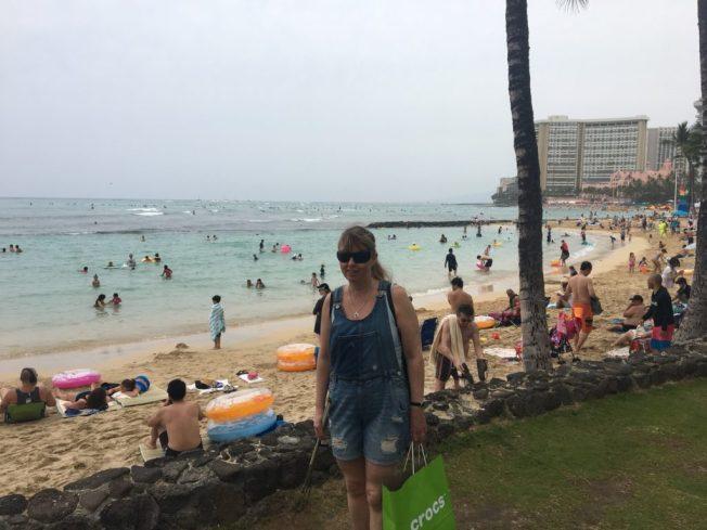 Foto på Anna på Waikiki stranden.