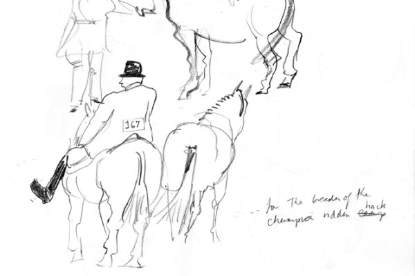 Drawings of riders showing their horses.