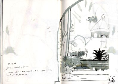 Black and white drawing of the fountain at Tresco gardens.