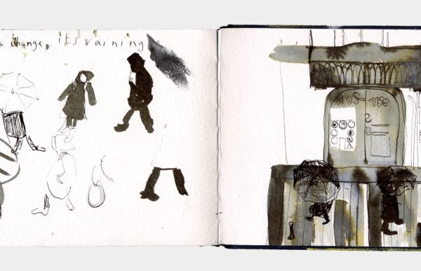 Drawings of people walking in the rain.