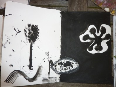 Black and white painting in poster paint.
