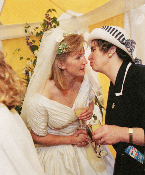 Claire Birkett greets her husband's aunt after her wedding, Chew Stoke. 1992
