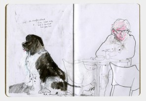 Drawing of a Newfoundland dog and its owner.