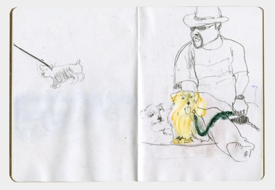 Drawing of a man sitting on the beach with his small fluffy dog.