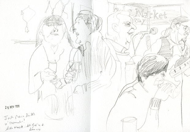 Pencil drawing of people in a pub and a Bass player