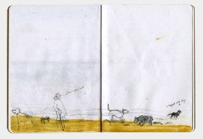 Sketch of a woman and several dogs playing on a beach.