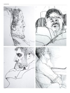 Drawing of four male commuters